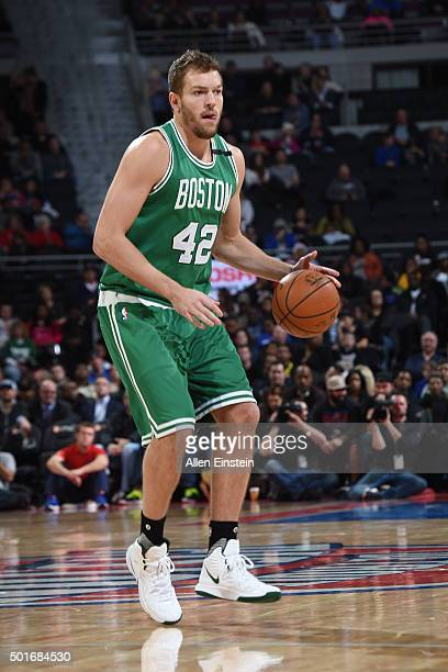 David Lee of the Boston Celtics handles the ball against the Detroit Pistons on December 16 2015 at The Palace of Auburn Hills in Auburn Hills...