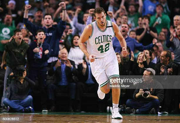 David Lee of the Boston Celtics reacts after scoring against the Chicago Bulls during the second half at TD Garden on December 9 2015 in Boston...