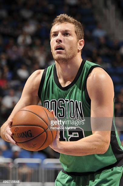 David Lee of the Boston Celtics shoots a free throw against the Orlando Magic on November 29 2015 at the Amway Center in Orlando Florida NOTE TO USER...