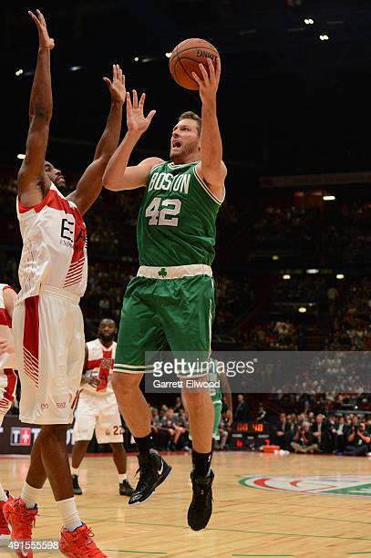 David Lee of the Boston Celtics shoots against Emporio Armani Milano as part of the 2015 Global Games on October 6 2015 at the Mediolanum Forum Arena...