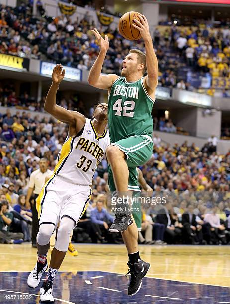 David Lee of the Boston Celtics shoots the ball against the Indiana Pacers at Bankers Life Fieldhouse on November 4 2015 in Indianapolis Indiana NOTE...