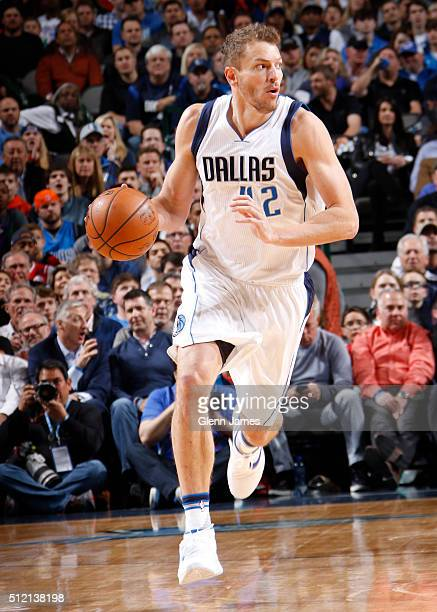 David Lee of the Dallas Mavericks handles the ball during the game against the Oklahoma City Thunder on February 24 2016 at the American Airlines...