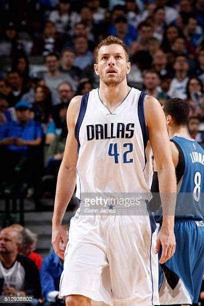 David Lee of the Dallas Mavericks looks on during a game against the Minnesota Timberwolves on February 28 2016 at the American Airlines Center in...