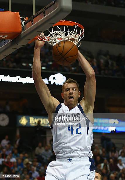 David Lee of the Dallas Mavericks makes the slam dunk against the Detroit Pistons during the first half at American Airlines Center on March 9 2016...