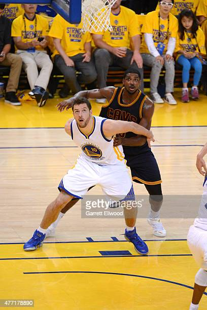 David Lee of the Golden State Warriors battles for position against Tristan Thompson of the Cleveland Cavaliers in Game Five of the 2015 NBA Finals...