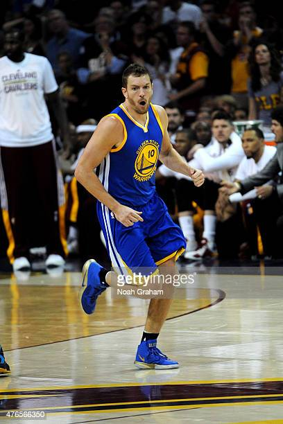 David Lee of the Golden State Warriors celebrates during a game against the Cleveland Cavaliers during Game Three of the 2015 NBA Finals at The...