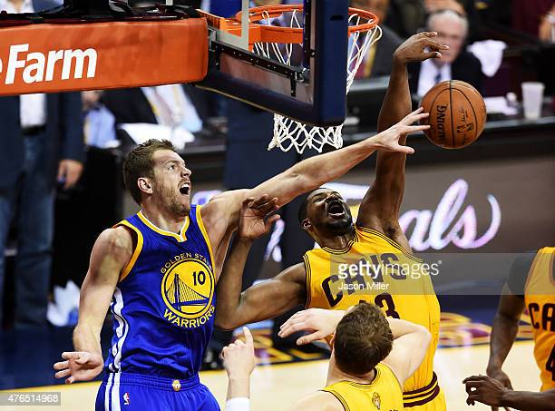 David Lee of the Golden State Warriors defends against Tristan Thompson of the Cleveland Cavaliers during Game Three of the 2015 NBA Finals at...