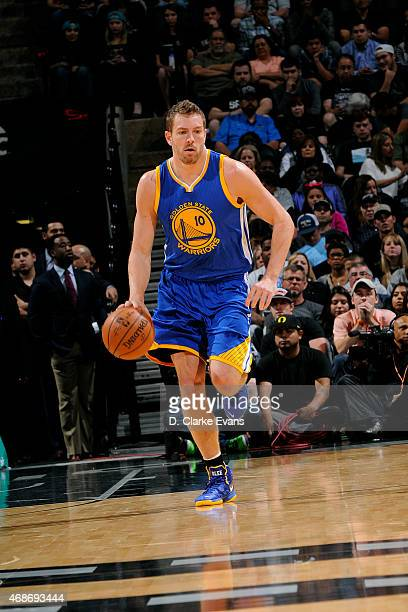 David Lee of the Golden State Warriors drives against the San Antonio Spurs on April 5 2015 at the ATT Center in San Antonio Texas NOTE TO USER User...