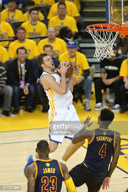 David Lee of the Golden State Warriors drives to the basket against the Cleveland Cavaliers in Game Five of the 2015 NBA Finals on June 14 2015 at...
