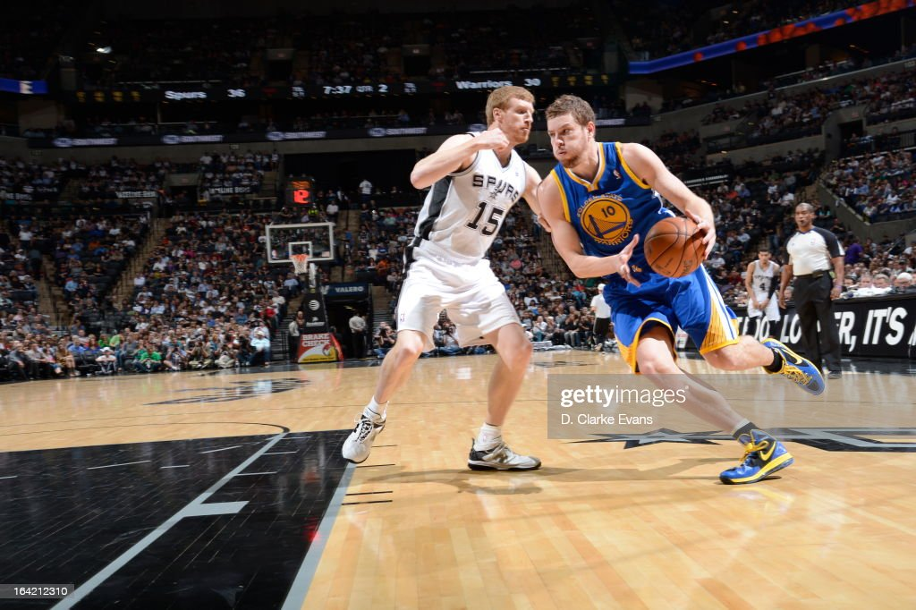 David Lee #10 of the Golden State Warriors drives to the hoop against Matt Bonner #15 of the San Antonio Spurs on March 20, 2013 at the AT&T Center in San Antonio, Texas.