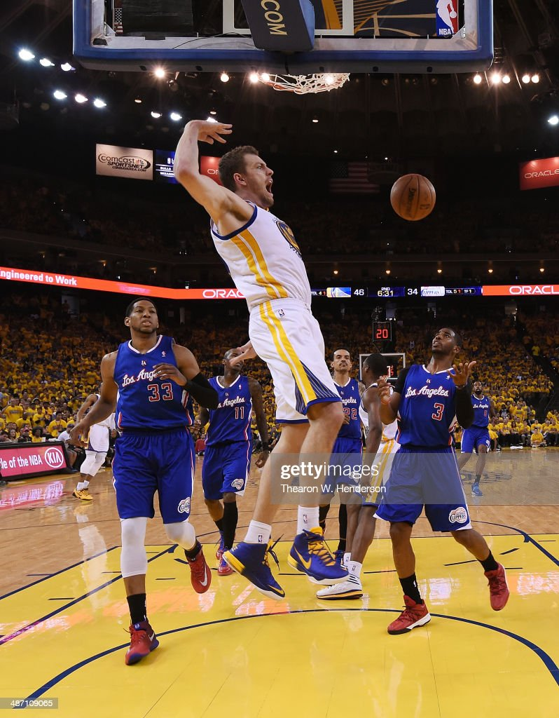 David Lee #10 of the Golden State Warriors goes in for a slam dunk against the Los Angeles Clippers in Game Four of the Western Conference Quarterfinals during the 2014 NBA Playoffs at ORACLE Arena on April 27, 2014 in Oakland, California.