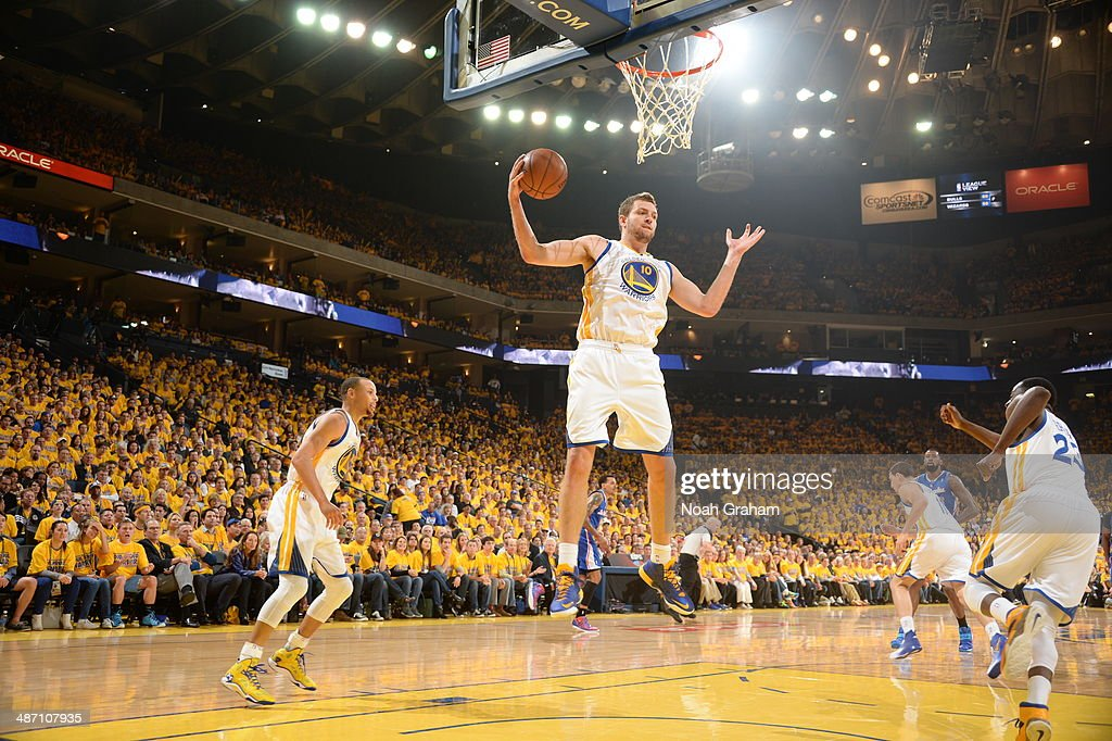 David Lee #10 of the Golden State Warriors grabs a rebound against the Los Angeles Clippers in Game Four of the Western Conference Quarterfinals at Oracle Arena on April 27, 2014 in Oakland, California.