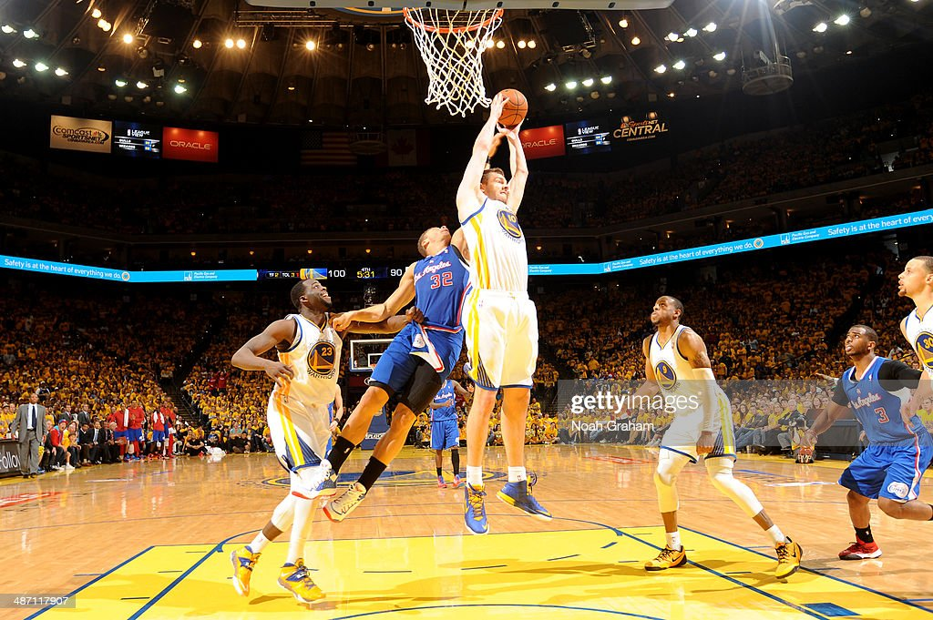 David Lee #10 of the Golden State Warriors grabs the rebound against Blake Griffin #32 of the Los Angeles Clippers in Game Four of the Western Conference Quarterfinals at Oracle Arena on April 27, 2014 in Oakland, California.