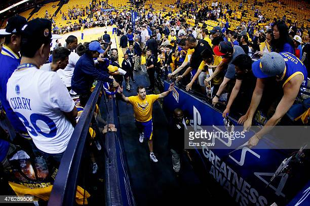 David Lee of the Golden State Warriors greets fans prior to Game Two of the 2015 NBA Finals against the Cleveland Cavaliers at ORACLE Arena on June 7...
