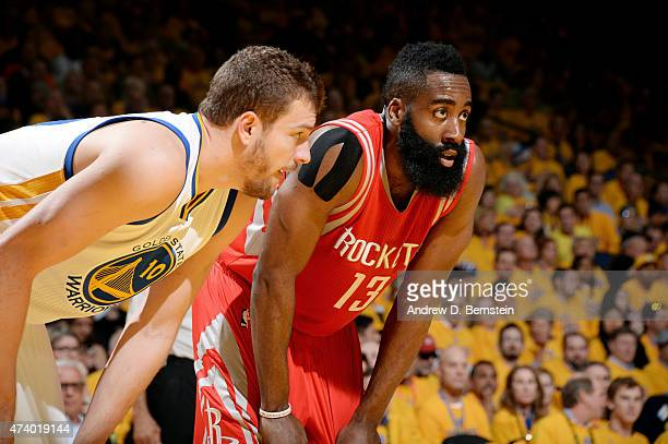 David Lee of the Golden State Warriors guards his position against James Harden of the Houston Rockets in Game One of the Western Conference Finals...