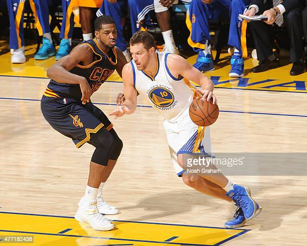 David Lee of the Golden State Warriors handles the ball against the Cleveland Cavaliers in Game Five of the 2015 NBA Finals on June 14 2015 at Oracle...