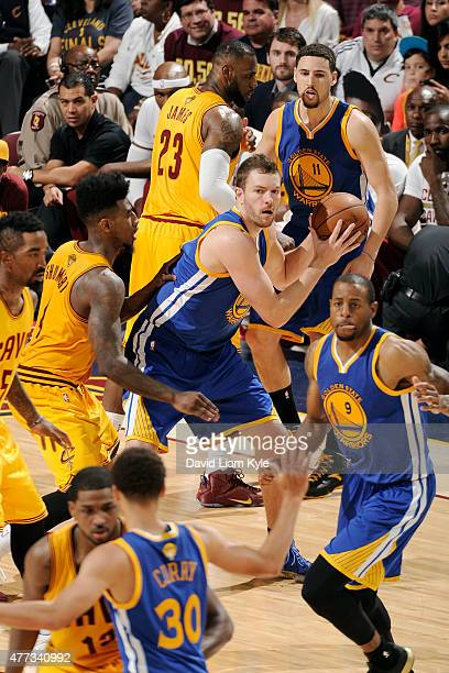 David Lee of the Golden State Warriors handles the ball against the Cleveland Cavaliers during Game Four of the 2015 NBA Finals at The Quicken Loans...