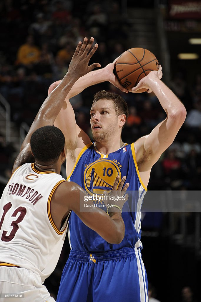 David Lee #10 of the Golden State Warriors looks to pass the ball against the Cleveland Cavaliers at The Quicken Loans Arena on January 29, 2013 in Cleveland, Ohio.