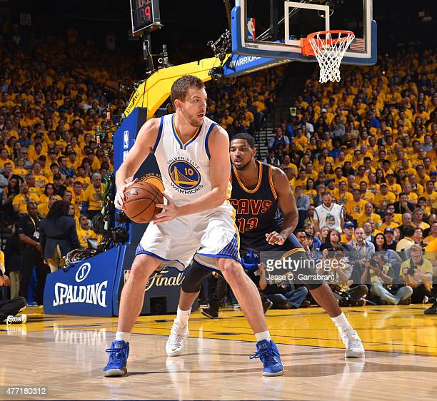 David Lee of the Golden State Warriors looks to pass the ball against the Cleveland Cavaliers at the Oracle Arena During Game one of the 2015 NBA...