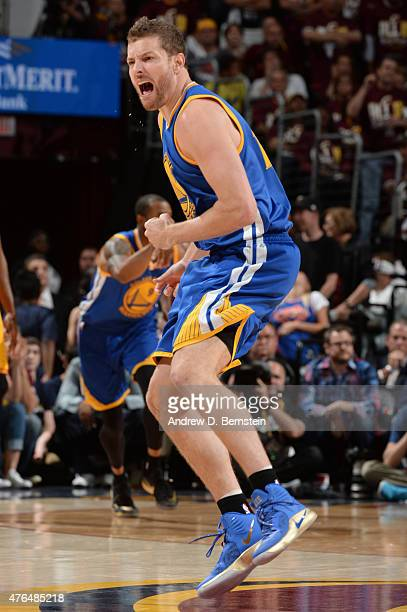 David Lee of the Golden State Warriors reacts during Game Three of the 2015 NBA Finals at The Quicken Loans Arena on June 9 2015 in Cleveland Ohio...