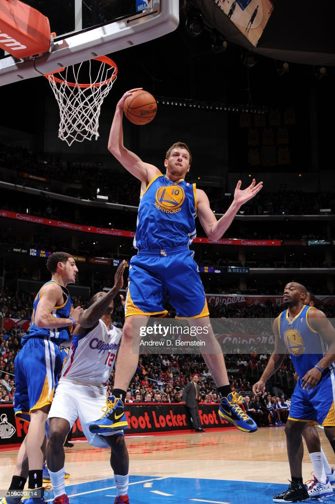 David Lee #10 of the Golden State Warriors rebounds during the game between the Los Angeles Clippers and the Golden State Warriors at Staples Center on January 5, 2013 in Los Angeles, California.