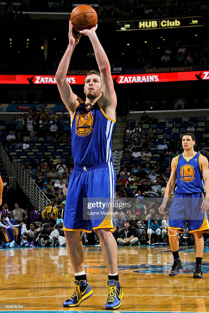David Lee #10 of the Golden State Warriors shoots a free-throw against the New Orleans Hornets on March 18, 2013 at the New Orleans Arena in New Orleans, Louisiana.