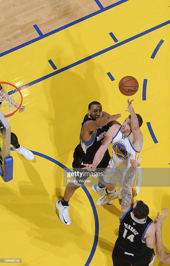 David Lee #10 of the Golden State Warriors shoots against the Minnesota Timberwolves on April 9, 2013 at Oracle Arena in Oakland, California.