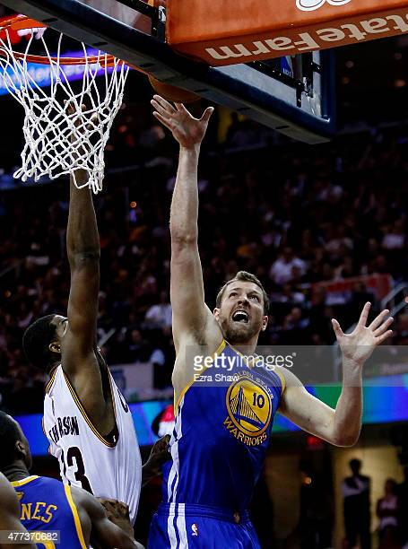 David Lee of the Golden State Warriors shoots against Tristan Thompson of the Cleveland Cavaliers in the second quarter during Game Six of the 2015...