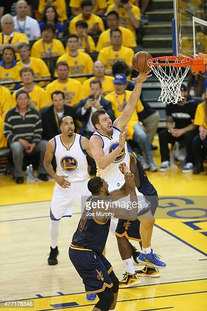 David Lee of the Golden State Warriors shoots the ball against the Cleveland Cavaliers in Game Five of the 2015 NBA Finals on June 14 2015 at ORACLE...