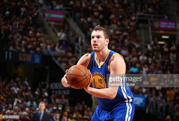 David Lee of the Golden State Warriors takes a foul shot during Game Three of the 2015 NBA Finals at The Quicken Loans Arena on June 9 2015 in...