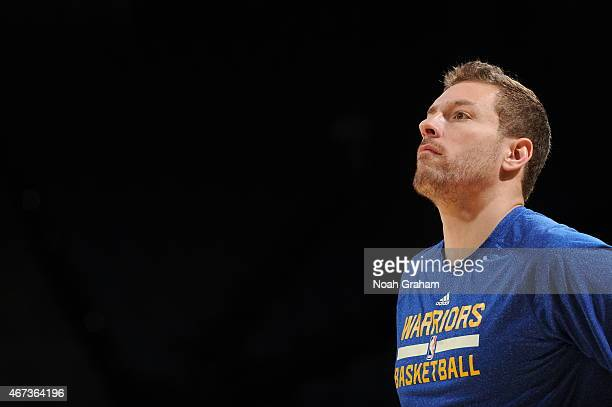 David Lee of the Golden State Warriors warms up before a game against the New York Knicks on March 14 2015 at ORACLE Arena in Oakland California NOTE...