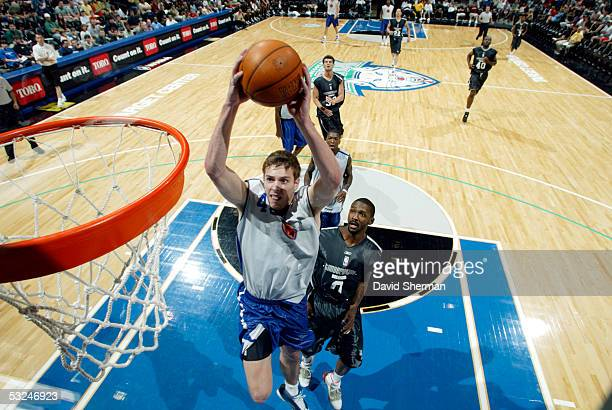 David Lee of the New York Knicks goes up to the basket for the shot against the Minnesota Timberwolves during the 2005 Minnesota Summer League on...