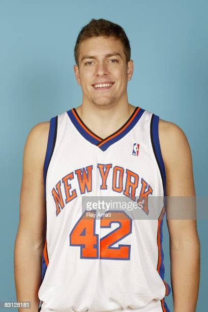 David Lee of the New York Knicks poses for a portrait during NBA Media Day on September 29 2008 at the Madison Square Garden Training Center in...