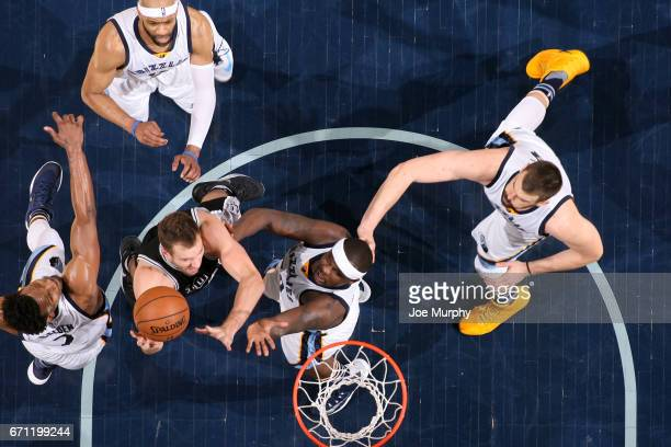 David Lee of the San Antonio Spurs drives to the basket against Zach Randolph of the Memphis Grizzlies during Game Three of the Western Conference...