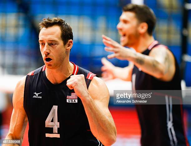 David Lee of the United States celebrates a point during the FIVB World League Group 1 Finals thirth place match between United States and Poland at...