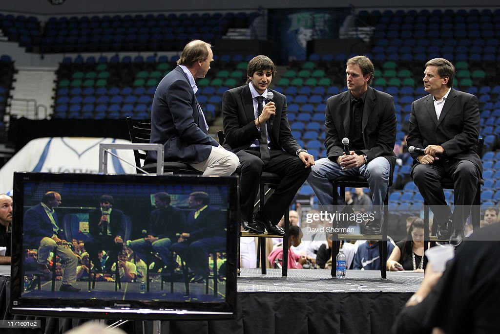 David Lee of WCCO Radio, and <a gi-track='captionPersonalityLinkClicked' href=/galleries/search?phrase=Ricky+Rubio&family=editorial&specificpeople=4028920 ng-click='$event.stopPropagation()'>Ricky Rubio</a>, and Kevin Lynch of Fox Sports North and Tom Hanneman of the Minnesota Timberwolves attend the team's 2011 NBA Draft Party at Target Center on June 23, 2011 in Minneapolis, Minnesota.