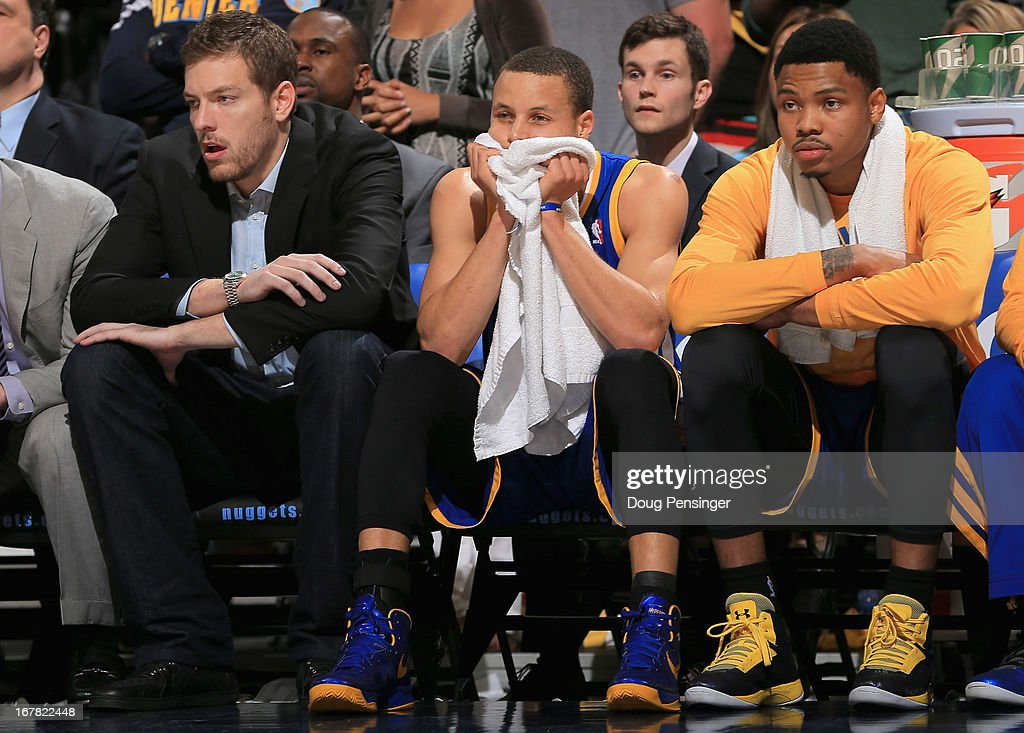 David Lee #10, Stephen Curry #30 and Kent Bazemore #20 of the Golden State Warriors during Game Five of the Western Conference Quarterfinals of the 2013 NBA Playoffs at the Pepsi Center on April 30, 2013 in Denver, Colorado. The Nuggets defeated the Warriors 107-100.