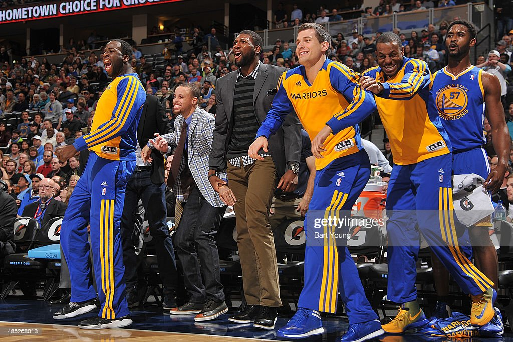 David Lee #10, Stephen Curry #30 of the Golden State Warriors reacts to a call against the Denver Nuggets on April 16, 2014 at the Pepsi Center in Denver, Colorado.