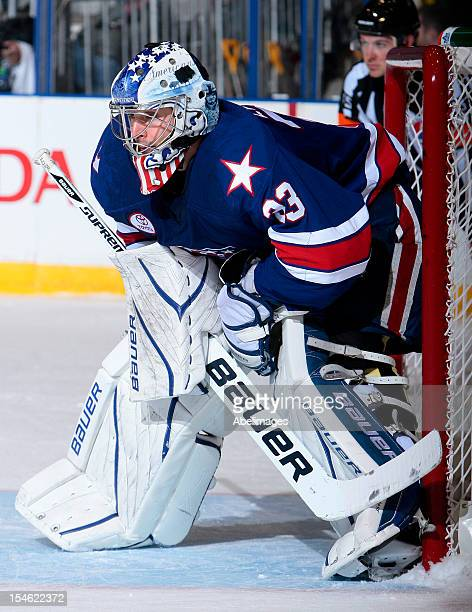 David Leggio of the Rochester Americans guards the net during AHL action against the Toronto Marlies at the Ricoh Coliseum October 13 2012 in Toronto...