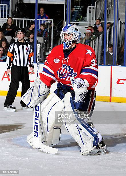 David Leggio of the Rochester Americans watches the action against the Toronto Marlies during AHL game action December 1 2012 at Ricoh Coliseum in...