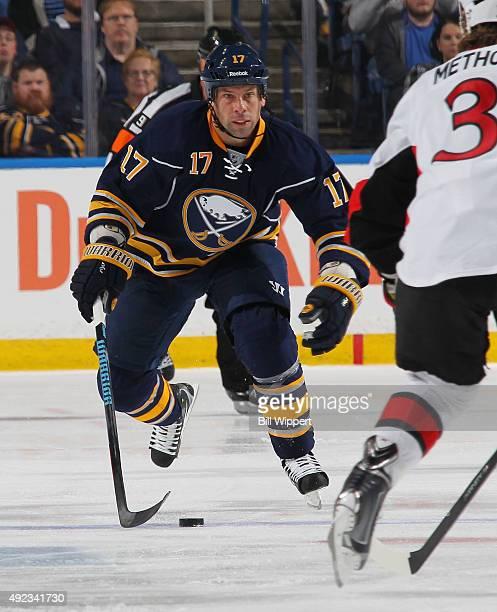 David Legwand of the Buffalo Sabres skates against the Ottawa Senators on October 8 2015 at the First Niagara Center in Buffalo New York