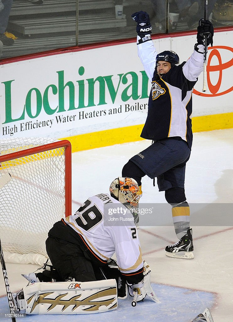 <a gi-track='captionPersonalityLinkClicked' href=/galleries/search?phrase=David+Legwand&family=editorial&specificpeople=202553 ng-click='$event.stopPropagation()'>David Legwand</a> #11 of the Nashville Predators celebrates his goal against <a gi-track='captionPersonalityLinkClicked' href=/galleries/search?phrase=Ray+Emery&family=editorial&specificpeople=218109 ng-click='$event.stopPropagation()'>Ray Emery</a> #29 of the Anaheim Ducks in Game Three of the Western Conference Quarterfinals during the 2011 NHL Stanley Cup Playoffs at Bridgestone Arena on April 17, 2011 in Nashville, Tennessee.