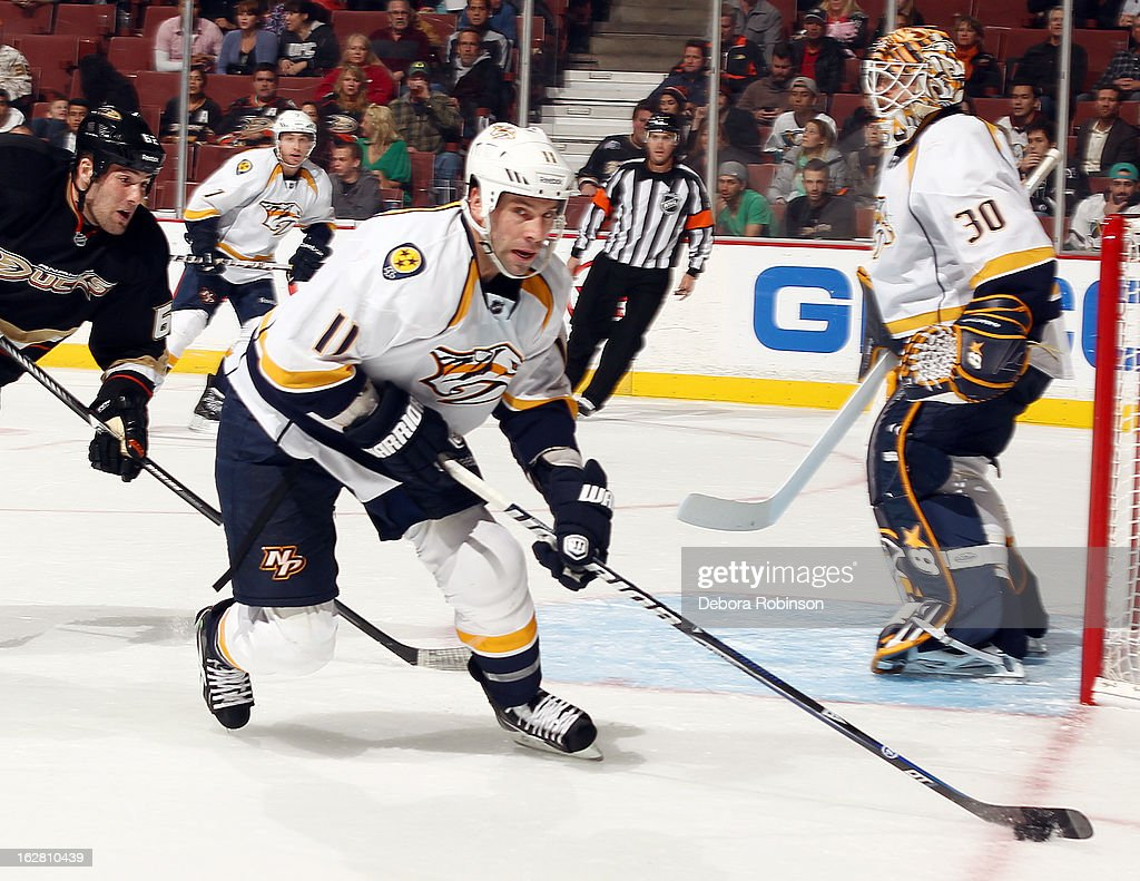 <a gi-track='captionPersonalityLinkClicked' href=/galleries/search?phrase=David+Legwand&family=editorial&specificpeople=202553 ng-click='$event.stopPropagation()'>David Legwand</a> #11 of the Nashville Predators handles the puck during the game against the Anaheim Ducks on February 27, 2013 at Honda Center in Anaheim, California.