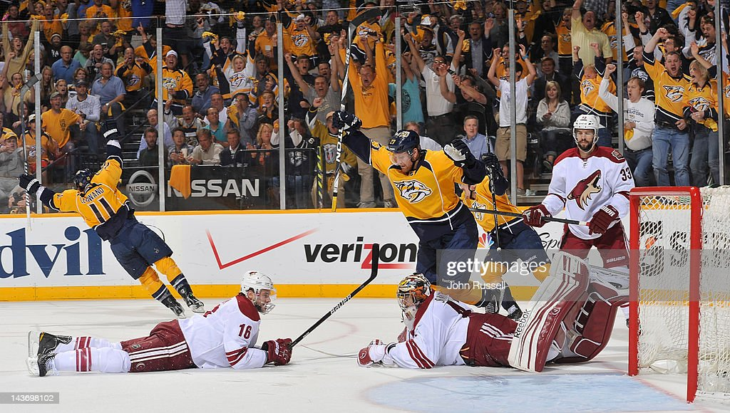<a gi-track='captionPersonalityLinkClicked' href=/galleries/search?phrase=David+Legwand&family=editorial&specificpeople=202553 ng-click='$event.stopPropagation()'>David Legwand</a> #11 of the Nashville Predators scores a goal against Mike Smith #41 of the Phoenix Coyotes in Game Three of the Western Conference Semifinals during the 2012 NHL Stanley Cup Playoffs at Bridgestone Arena on May 2, 2012 in Nashville, Tennessee.