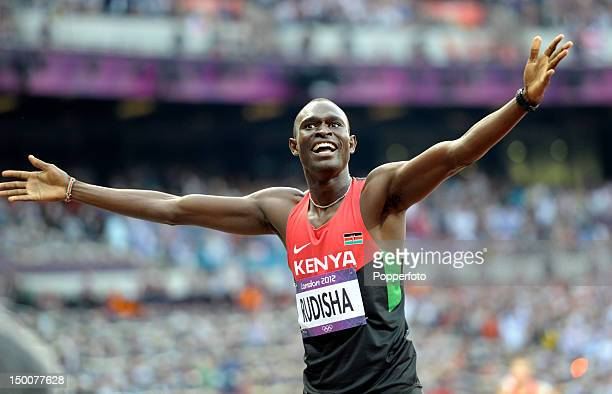 David Lekuta Rudisha of Kenya celebrates after winning gold and setting a new world record of 14091 in the Men's 800m Final on Day 13 of the London...
