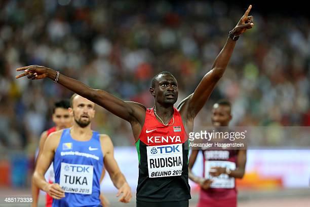 David Lekuta Rudisha of Kenya celebrates after winning gold in the Men's 800 metres final during day four of the 15th IAAF World Athletics...