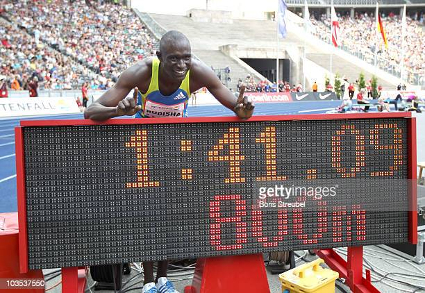 David Lekuta Rudisha of Kenya celebrates the victory and the new world record in the men's 800m during the IAAF World Challenge ISTAF 2010 at the...