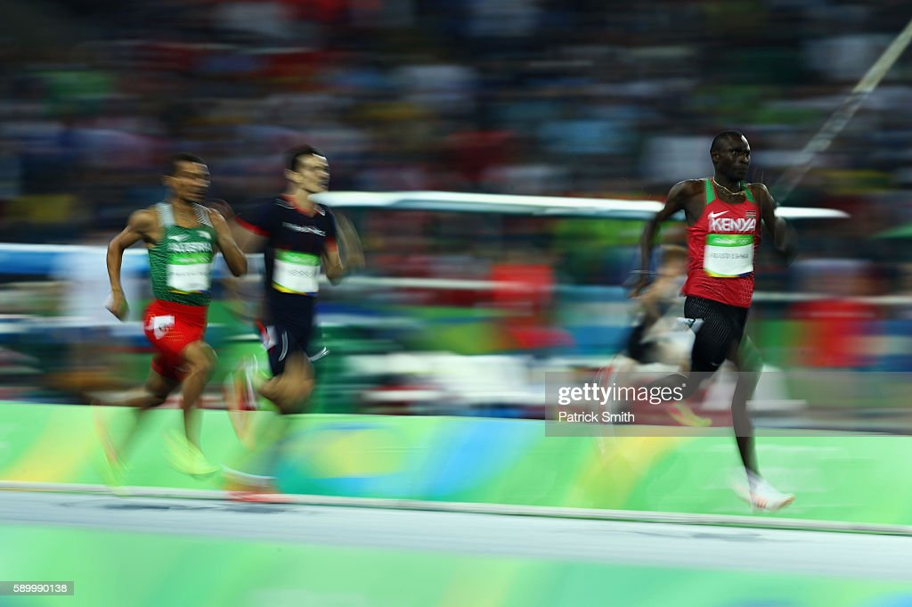 David Lekuta Rudisha of Kenya (R) runs on his way to winning the gold medal ahead of silver medalist Taoufik Makhloufi of Algeria and bronze medalist Clayton Murphy of the United States in the Men's 800m final on Day 10 of the Rio 2016 Olympic Games at the Olympic Stadium on August 15, 2016 in Rio de Janeiro, Brazil.