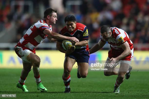 David Lemi of Bristol cuts between Henry Trinder and Jonny May of Gloucester during the Aviva Premiership match between Bristol Rugby and Gloucester...