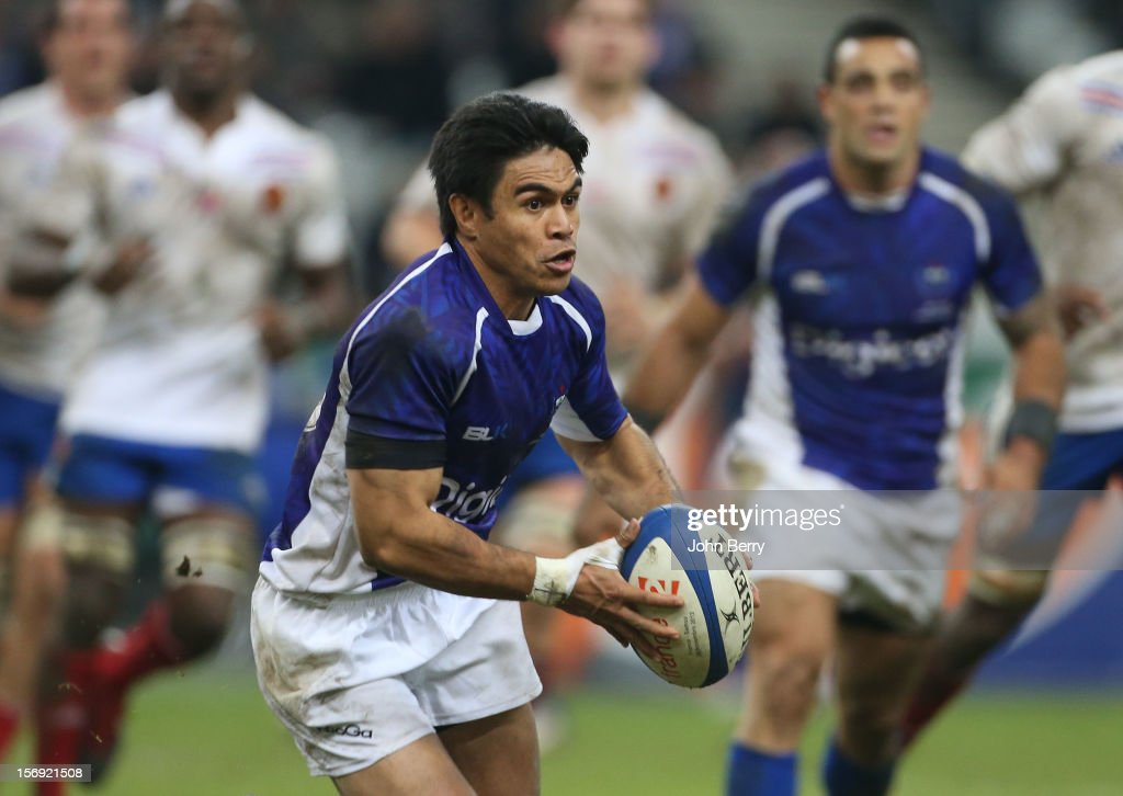 <a gi-track='captionPersonalityLinkClicked' href=/galleries/search?phrase=David+Lemi&family=editorial&specificpeople=696002 ng-click='$event.stopPropagation()'>David Lemi</a> of Samoa in action during the Rugby Autumn International between France and Samoa at the Stade de France on November 24, 2012 in Paris, France.
